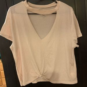 Light Pink Tie Front Seriously Soft Cropped Tee